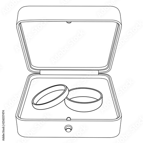 Wedding rings in a jewelry box. Flat outline drawing