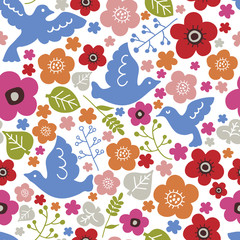 Seamless pattern with birds and flowers. White background. Vector illustration. © Lisa Textile Design