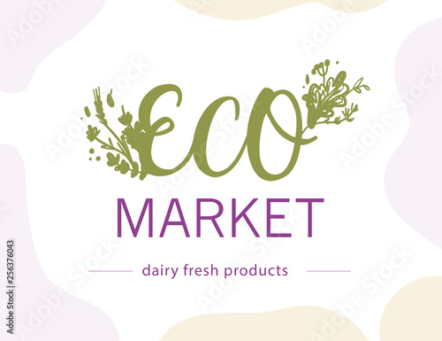 Vector eco market food logo design template isolated on white background. For farmers market, healthy products shop, local eco food fair, bio food store emblem, insignia. © artflare