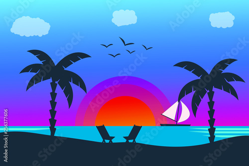 Summer holiday beach background. Tropical paradise, palm trees silhouette