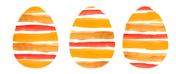 watercolor set of three eggs. textured eggs in a multi-colored strip on a white background for design, decoration © Анастасия Погуда