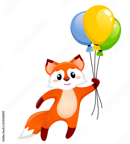 Cute little fox flying with balloons