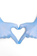 Hands in medicine latex surgical gloves