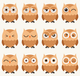 set of emoticons of owl birds in cartoon style