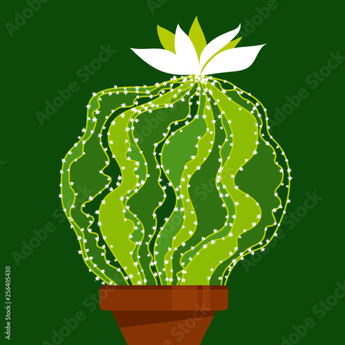 Abstract green cactus element for cards and prints © galyna_p
