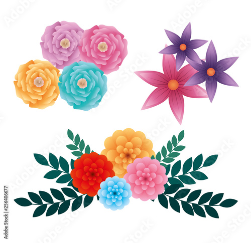 set exotic roses and flowers with leaves