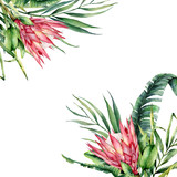 Watercolor tropical flowers card. Hand painted protea and palm leaves isolated on white background. Nature botanical illustration for design, print. Realistic delicate plant. - 256427633
