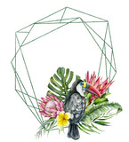Watercolor polygonal frame with toucan and flowers bouquet. Hand painted bird, protea, plumeria isolated on white background. Nature botanical illustration for design, print. Realistic delicate plant. - 256427693