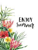 Watercolor Enjoy summer lettering card. Hand painted flowers: protea, hibiscus and plumeria isolated on white background. Illustration for design, print, background. - 256427881