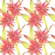 Hand painted watercolor illustration. Floral seamless pattern with red exotic tropical flowers. - 256433639