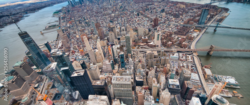 Wide angle aerial view of Downtown Manhattan, Brooklyn and Manhattan Bridges from helicopter, New York City - 256436090