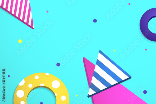 Abstract geometric background Vector illustration Triangles and circles of different colors and with different patterns are randomly scattered on a turquoise backdrop - 256446883