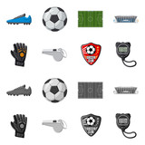Fototapeta Fototapety sport - Vector illustration of soccer and gear logo. Collection of soccer and tournament vector icon for stock. © Svitlana