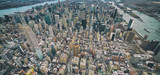 Fototapeta Nowy York - Wide angle aerial view of Midtown Manhattan, Central Park and Roosevelt Island from helicopter, New York City © jovannig