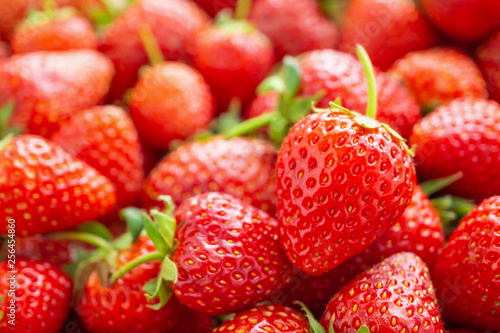 Fresh organic red ripe Strawberry fruit background closeup - 256454860