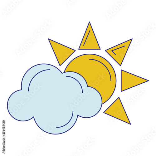 Sun and cloud symbol isolated blue lines