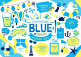 Summer blue illustration set - 256455624