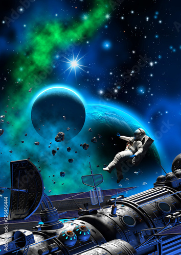 astronaut in outer space, 3d illustration © Tiziano Cremonini