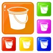 Round bucket icons set collection vector 6 color isolated on white background