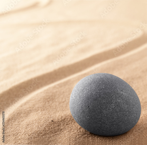 Zen stone garden for spiritual healing. Meditation and concentration sand background with copy space. Concept for hope purity harmony balance and stability. - 256465078