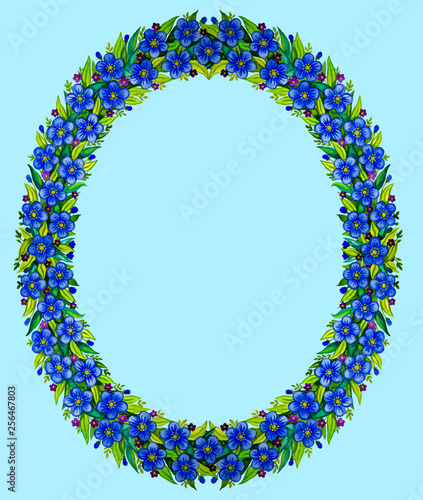 Watercolor drawing - a wreath of blue flowers, a frame for text
