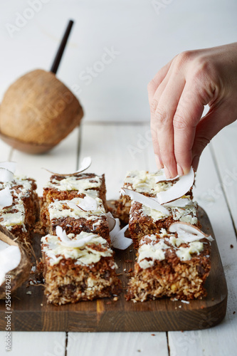 Cerial flapjack with coconut shavings and white chocolate