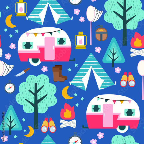 obraz PCV Scout camping travel seamless background pattern vector illustration