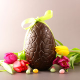chocolate easter egg and tulip