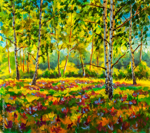 Original oil painting sunny Forest landscape, green nature, park alley - Art Sunny spring birch trees in a sunny green forest artwork - spring lush beautiful scenery illustration.