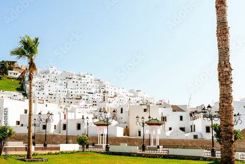 Landscape of white houses in Tetouan, Morocco.