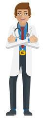 A young confident medical doctor man cartoon mascot character © Christos Georghiou