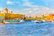 "Постер, картина, фотообои ""Watercolor cityscape. Tourist ships floating on the Moscow river."""