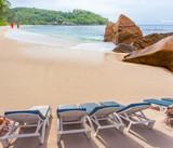 Transat sur plage d'anse Takamaka, Mahé, Seychelles
