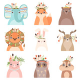 Cute Animals Wearing Headdress with Feathers, Leaves and Flowers Set, Elephant, Fox, Bear, Lion, Hare, Deer, PIg, Owl, Woodchuck in Feathered Headgears Vector Illustration