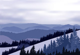 blue dark illustration with mountain forest