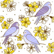 Seamless pattern with cute swallows and flowers on white background - 256593222