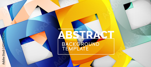 Background with color squares composition, modern geometric abstraction design for poster, cover, branding or banner © antishock
