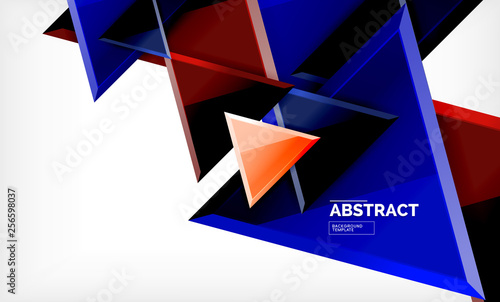 Flying triangles compostion geometric background