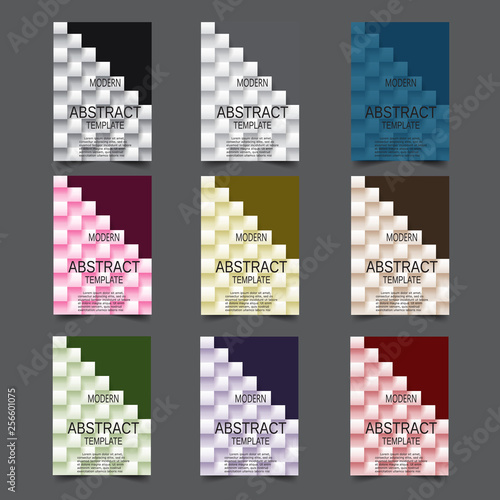 Modern abstract covers set. Colorful poster background, vector design. - 256601075