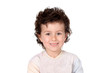 Funny small child with dark hair and brown eyes