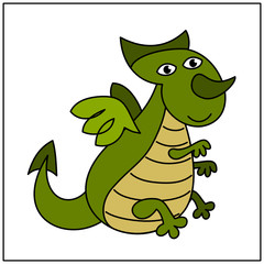 Funny dragon in cartoon style isolated on white background.