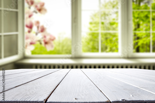 Desk of free spring time and window background  - 256615228