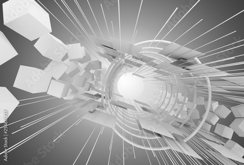 abstract space construction background. 3d illustration