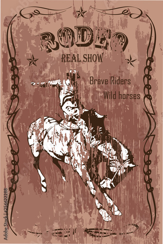 vector banner poster with a cowboy rider sitting on a wild horse mustang and the inscription rodeo on the background of wooden boards in retro style © Олег Резник