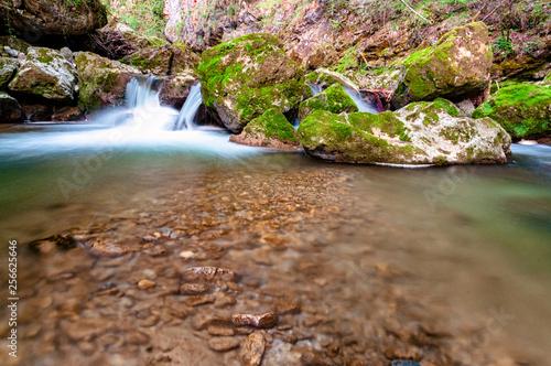 Foto Murales water flowing around rocks