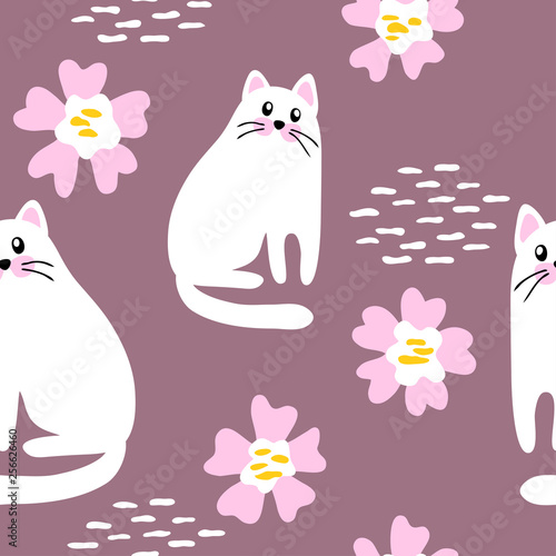 fototapeta na ścianę vector seamless pattern cute funny cartoon cat with flowers on white