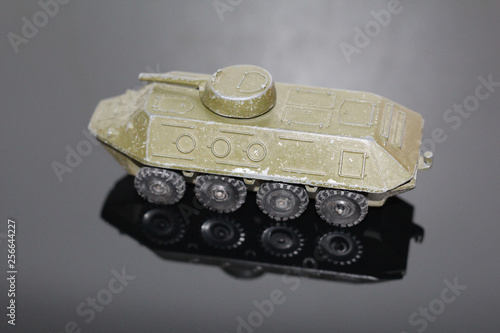 An old toy for boys - an armored personnel carrier. Model military equipment. BTR. Armored car. © Марина Демкина