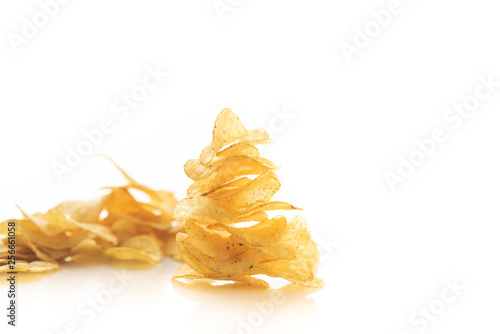 potato chips scattered on white background isolate