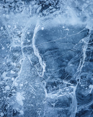 Abstract close-up of ice with air bubbles