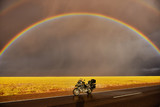 Motorcycle in the rainbow